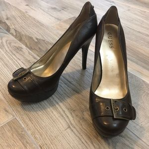 GUESS Platform Heels with Buckle